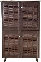 DeckUp Bei 4-Door Shoe Rack with Wooden Legs (Dark Wenge, Matte Finish)