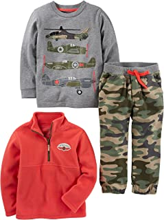 Simple Joys by Carter's Toddler Boys' 3-Piece Fleece Jacket, Long-Sleeve Shirt, and Woven Pant Playwear Set