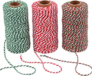 Sunmns 3 Roll Christmas Twine Cotton String Rope Cord for Gift Wrapping, Arts Crafts, 984 Feet (Multicolor A)