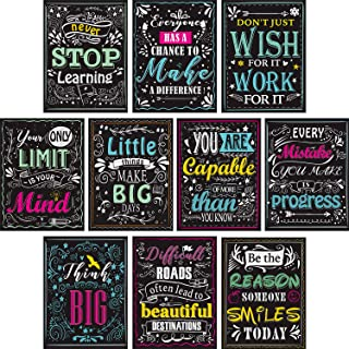Blulu 10 Pieces Motivational Classroom Wall Posters Inspirational Quotes Positive Posters for Students - Educational Teach...