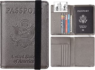 Travelambo RFID Blocking Leather Passport Holder Cover Case Travel Wallet Elastic Strap