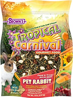 Tropical Carnival F.M. Brown's Gourmet Pet Rabbit Food with High-Fiber Timothy and Alfalfa Hay Pellets, Probiotics for Digestive Health, Vitamin-Nutrient Fortified Daily Diet