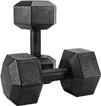 Yaheetech 2 stuks halterset 7,5 kg korte halters rubber gietijzer hexagon halters gewichten training voor aerobic, gymnast...