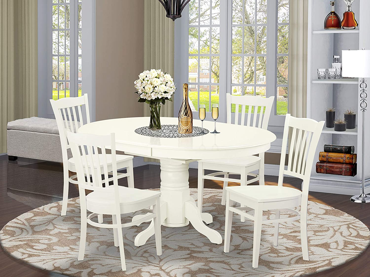 East West Furniture Dinette set 9 Wonderful wooden dining chairs   A  Attractive pedestal dining table  Linen White Color Wooden Seat Linen White  ...