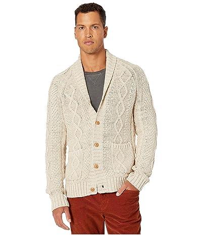 J.Crew Rugged Cotton Cable-Knit Shawl-Collar Cardigan Sweater (Heather Sandstone) Men