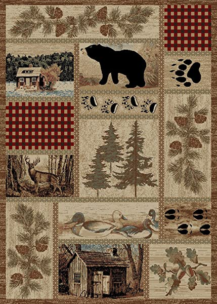 Rustic Lodge Forest Cabin 5x7 Area Rug 5 3x7 3