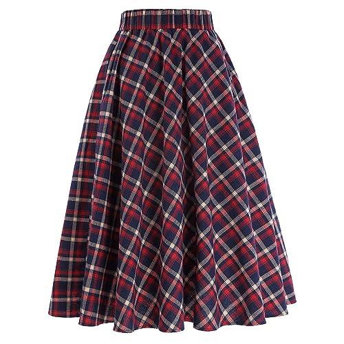 0e787b2d5a Kate Kasin Women's A-Line Vintage Skirt Grid Pattern Plaid KK633/ KK495