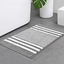 Bsicpro Chenille Bath Rug for Bathroom Shaggy Mat Shower Mats Super Non Slip Water Absorbent Carpet Stripe Pattern Plush R...