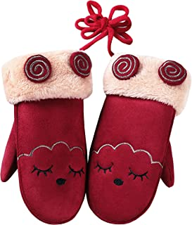 Toddler Kids Girls Boys Cute Winter Warm Gloves Faux Suede Mitten Fleece Lined Gloves with String