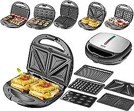 5-in-1 sandwichmaker, 5 verwisselbare platen, wafelijzer, contactgrill, elektrische grill, multigrill, notenbakker, tovern...