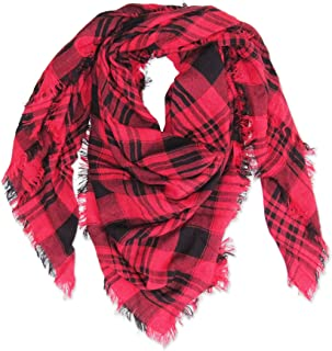 Tickled Pink Women's Square Plaid Scarf