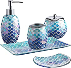 Whole Housewares 5-Pieces Bathroom Accessory Set Bright-Colored Mosaic Glass Bath Ensemble-Lotion Dispenser/Toothbrush Hol...