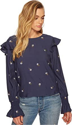 Embroidered Blouson Sleeve Top