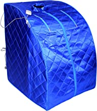 ALEKO PIN15BL Personal Folding Portable Home Infrared Sauna with Folding Chair and Foot Pad for Relaxation and Weight Loss 41 x 31 x 33 Inches Blue