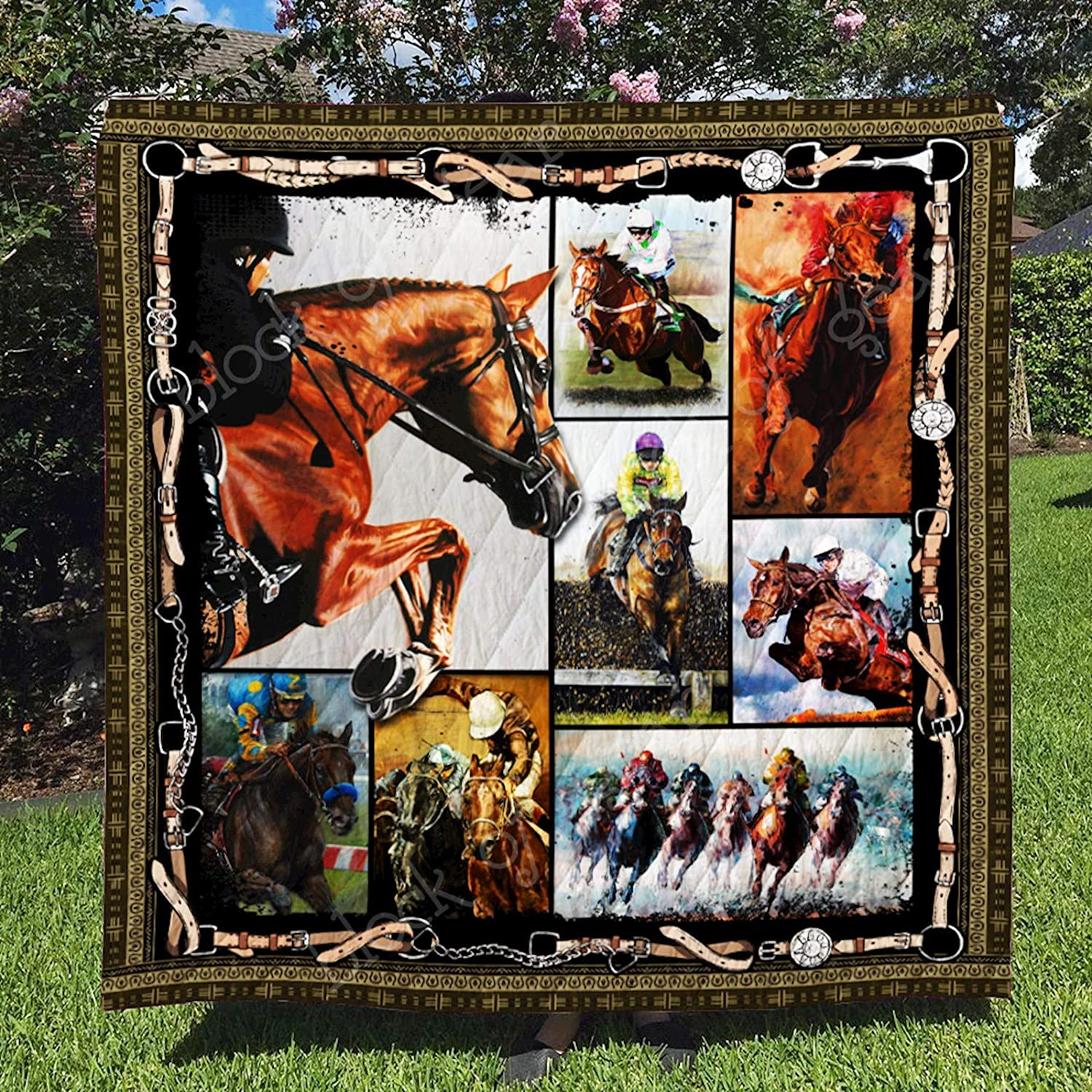 Horse Racing Quilt TH650, Twin All-Season Quilts Comforters with Reversible Cotton King Queen Twin Size - Best Decorative Quilts-Unique Quilted for Gifts