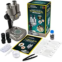 NATIONAL GEOGRAPHIC Dual LED Student Microscope – 50+ pc Science Kit Includes Set of 10 Prepared Biological & 10 Blank Sli...