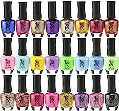 SXC Cosmetics Nail Polish Set, 15ml/0.5oz Full Size Nail Lacquer Gift lot (Pink, Metallic, Neon, Pastel, Gold & Glitter) (24 Color Set, 24 Colors)