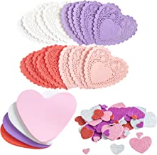 JOYIN Valentines Day Craft Gift Set with 100 Heart Doilies, 24 Pieces Foam Hearts and 2 Bags of Foam Heart Stickers