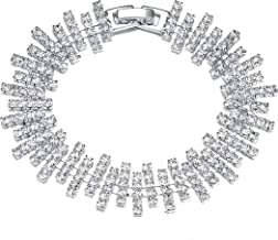 LDPF Clear Rhinestone Stretch Bracelet for Wedding,Prom,Bridal,Costume,Figure Competition,Beauty Pageant