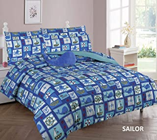 6 Piece Twin Size Kids Boys Comforter Set Bed in Bag w/Sham, Sheet Set and Decorative Toy Pillow, Sailor Boat Sea Animals Whales Shark Comforter Bedding Set w/Sheets, Twin 6pc Sailor