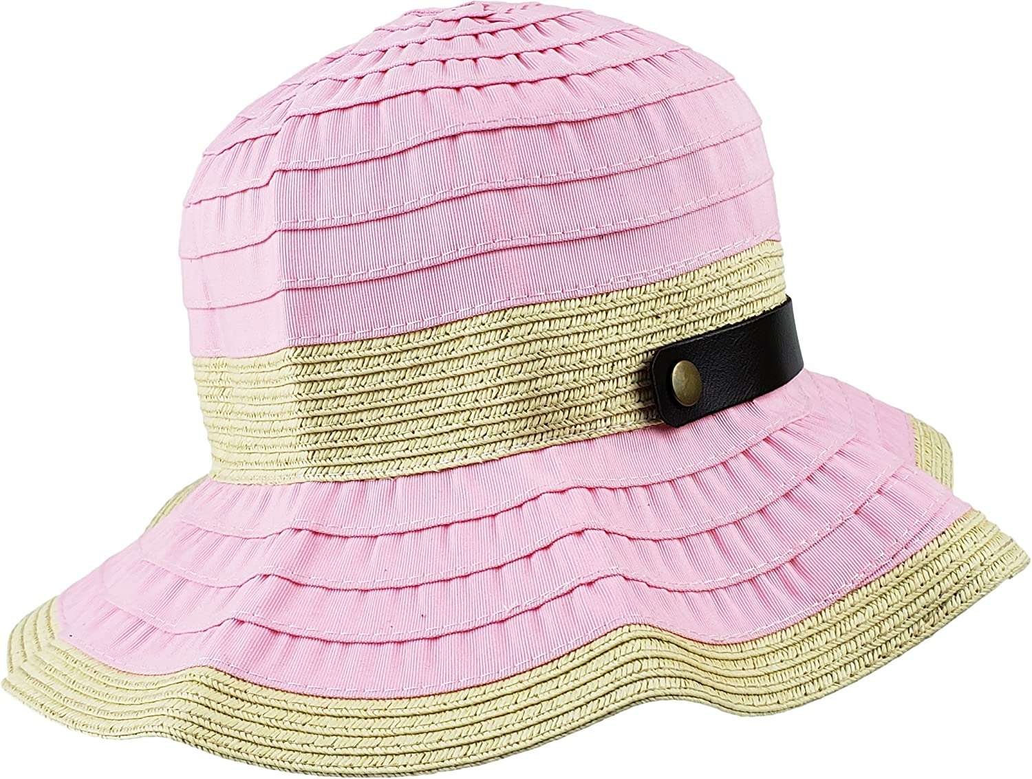 BRUCERIVER Womens Summer Sunhat Packable Wide Brim Hats with Buckle Strap Pink