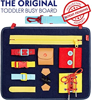 Toddler Busy Board - Montessori Basic Skills Activity Board for Fine Motor Skills and Learn to Dress - Educational Learning Toys for 1 2 3 4 Year Old Toddlers - Sensory Toy for Airplane or Car Travel