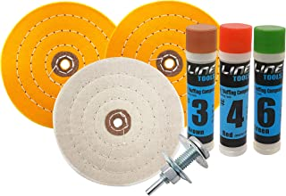 6 Inch Buffing Wheel Kit for Bench Grinders and Drill, with 3 Step Polishing Compound