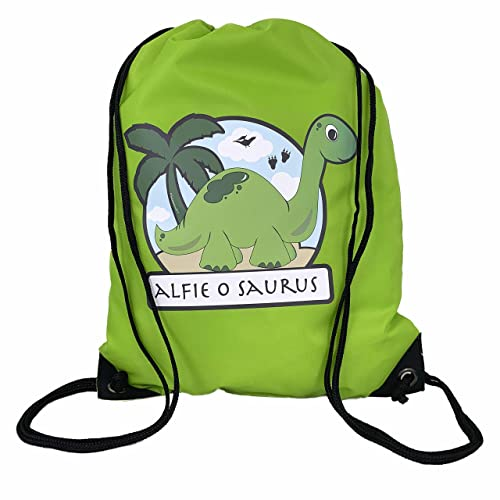 The Supreme Gift Company Personalised Green bag Kids Dinosaur Drawstring  Swimming b55733edf415d