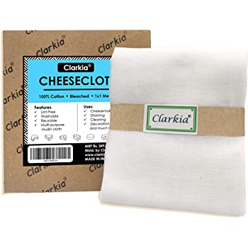 Clarkia Professional Cotton Cheese Cloth Bleached(White) - 1x1 Meter for Paneer, Cheese Making