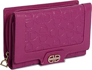 SADDLER Womens Real Leather Trifold Multi Credit Card Wallet with Zippered Coin Pocket | Ladies Flap Purse Clutch - Perfect for Debit Travel Business ID Cards Notes and Coins | Gift Boxed- Fuchsia