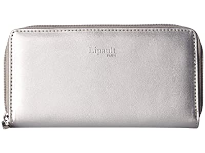 Lipault Paris Miss Plume Zip Around Wallet (Titanium) Wallet Handbags