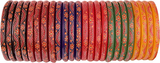 NMII Fashionable & Glossy Printed Flower Pattern Multicolor Glass Bangles for Women & Girls on Traditional & Festive Occasions(B07F8TQ58F)