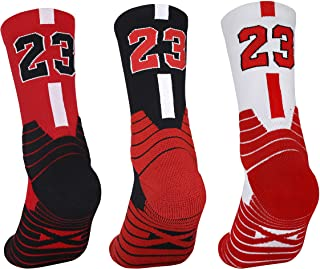 3 Pairs Elite Basketball Socks, Athletic Socks with 3D Ankle Protection , Compression Cushion Sport Socks for Men & Women