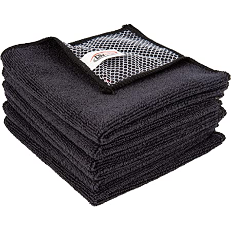 DSV Standard Microfiber Dish Cloth Super Absorbent Kitchen Wash Cloth with Poly Scour 11.8 Inch X 11.8 Inch Pack of 6 Black & Screen Cloth as Gift