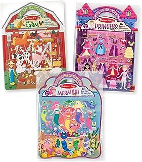 Melissa & Doug Reusable Puffy Sticker Play Set 3 Pack: On The Farm, Princess and Mermaid