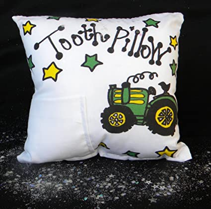 Bunnies and Bows Personalized Tooth Fairy Pillow Race Car Handmade in USA 6.5 x 6.5 x 2