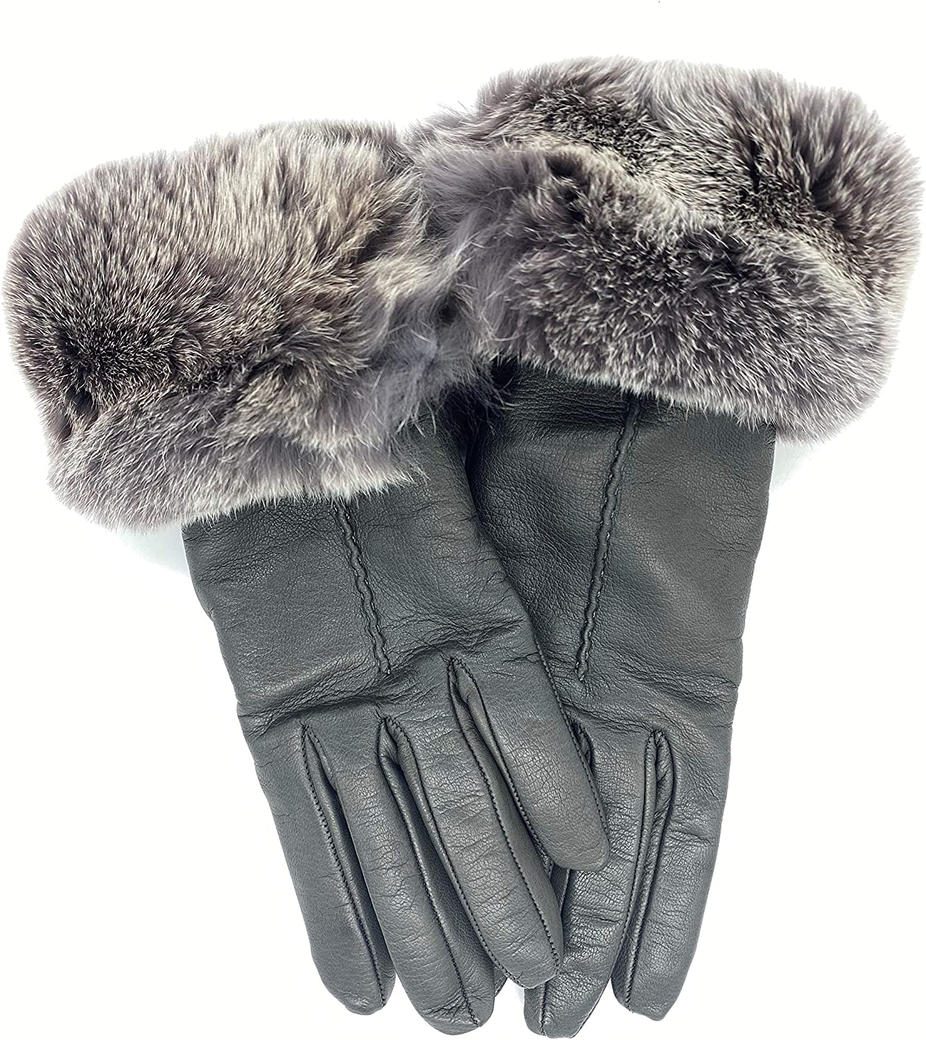 Women's Leather Luxury Gloves Rabbit Fur Made - 最新 Italy Gr 無料サンプルOK Cuff in