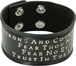 Leather Bracelet Black STRONG AND COURAGEOUS Christian Jewelry