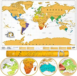 Scratch Map Original Scratch off Map, Personalized World Travel Map Poster with countries, states, cities, Manufactured in...