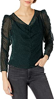 ASTR the label Women's Spot Me Semi Sheer V-Neck Long Sleeve Ruched Top