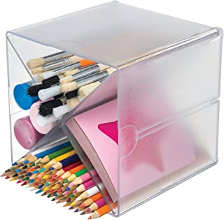 """Deflecto Stackable Cube Organizer Cross Dividers, Desk and Craft Organizer, Clear, Removable Dividers, 6""""W x 6""""H x 6""""D (350201)"""