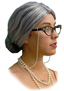 Vibe Old Lady Wig Costume Set, Gray Hair Granny Wig with Pearl Necklace, Glasses, Glass Chain Accessories, 5 Pieces Total