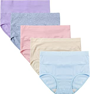 Women's High Cut Solid Color Tummy Control Cotton Underpants Briefs Multipack