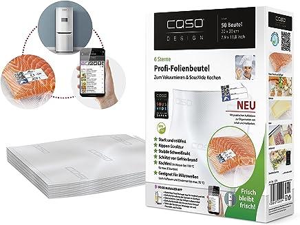 CASO Profi- Folienbeutel 20x30 cm / 50 Beutel, für alle Balken Vakuumierer, BPA-frei, sehr stark & reißfest ca. 150µm, kochfest, Sous Vide geeignet, wiederverwendbar, für Folienschweißgeräte geeignet