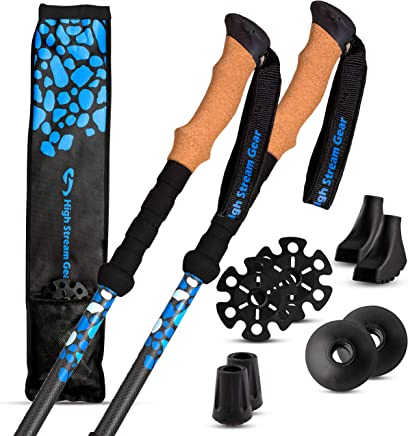 High Stream Gear Trekking Poles Made of Carbon Fiber, Real Cork Grip Handles Designed by Professional Walkers and Hikers – Ultra-Lightweight – Telescopic Compact, Hiking Sticks