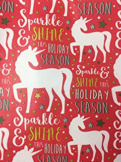 Unicorn Christmas Gift Wrapping Paper