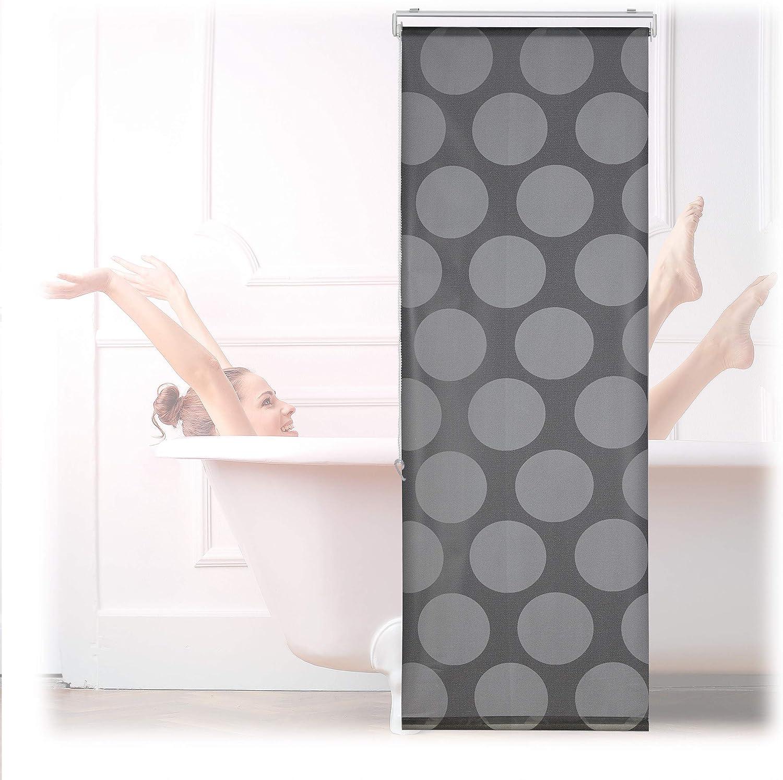 Relaxdays Duschrollo, 20x20 cm, Seilzugrollo für Dusche & Badewanne,  Badrollo wasserabweisend, Decke & Fenster, grau