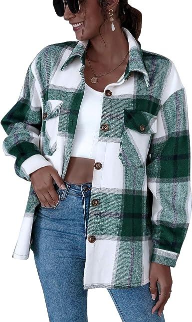 Chaqueta de Camisa a Cuadros para Mujer, Chaqueta de Abrigo ...