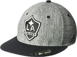 adidas MLS Los Angeles Galaxy Men's Heathered Gray Fabric Flat Visor Flex Hat, Small/Medium, Gray