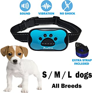No Bark Dog Collar Small Medium Large All Breeds 2018 Anti-Bark Control Deterrent Pet Safe & Humane Train Device Automatic Sound Vibration No Harm Static Shock Water Repellent Any Weather Condition